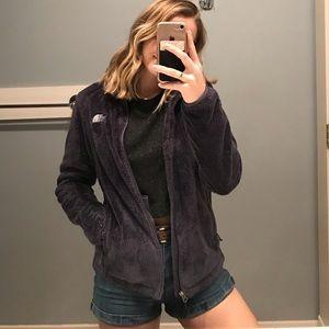 Dark purple fuzzy north face jacket